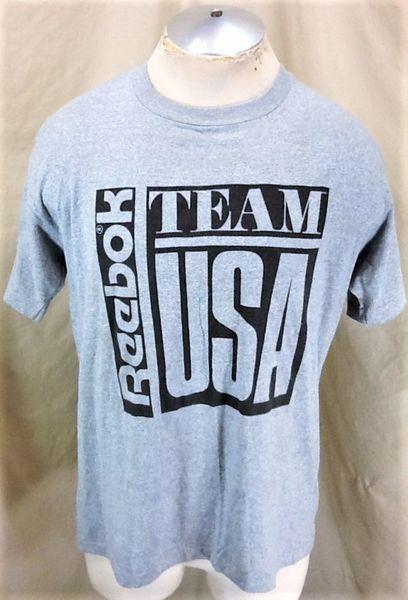 Vintage 90's Reebok Team USA (Large) Retro Olympic Games Graphic Gray T-Shirt