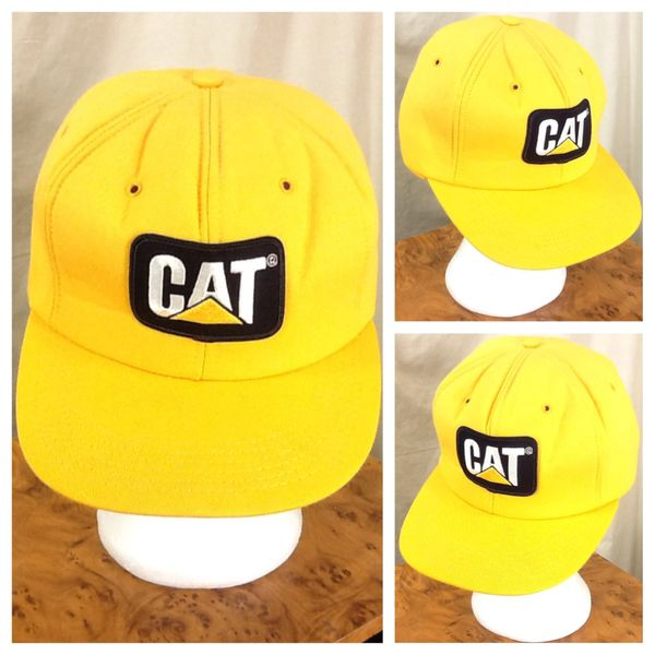 Vintage 80's Caterpillar Heavy Farm Equipment Retro Foam Insulated Snap Back Hat Yellow