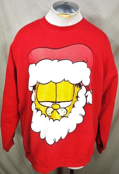 "Vintage Garfield ""Unimpressed Santa"" (XL) Retro Crew Neck Graphic Sweatshirt"