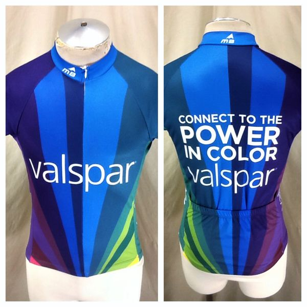 "Valspar Paints ""Connect To The Power In Color"" (Small) Retro 3/4 Zip Up Graphic Cycling Jersey"