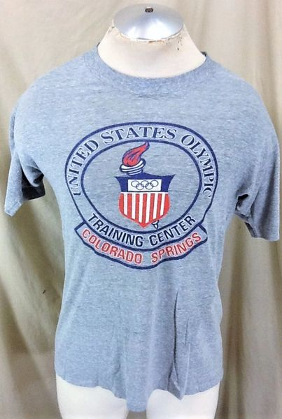 Vintage 90's United States Olympic Training Center (Med/Large) Retro Thin Graphic Rayon T-Shirt