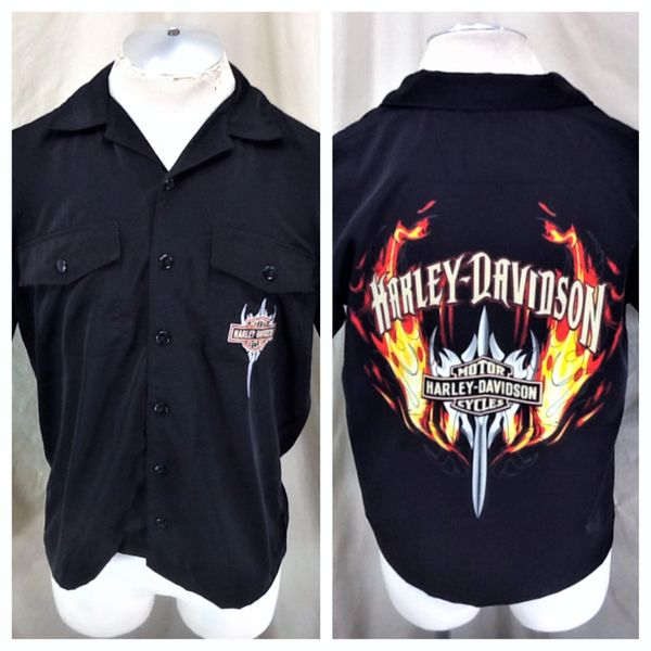 Harley Davidson Motorcycles (Small) Button Up Graphic Shop Shirt Black