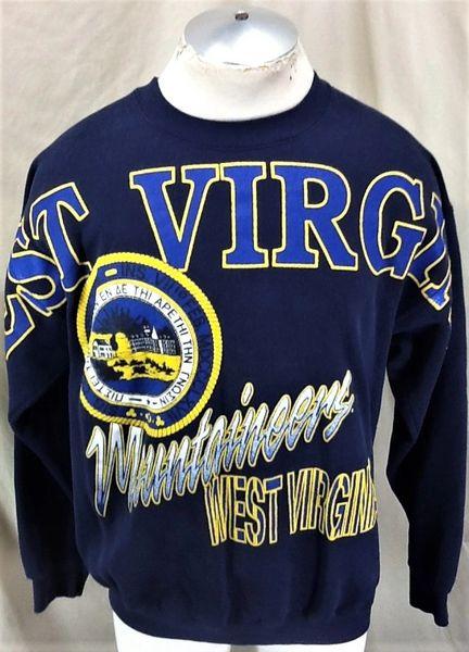 Vintage 90's West Virginia Mountaineers (Large/XL) Retro NCAA Graphic Crew Neck Sweatshirt