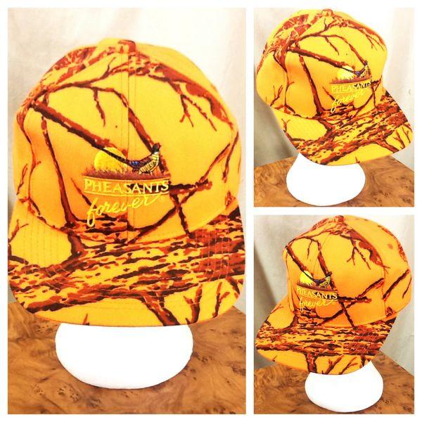 Vintage 90's Pheasants Forever Blaze Orange Camo Snap Back Hunting Hat