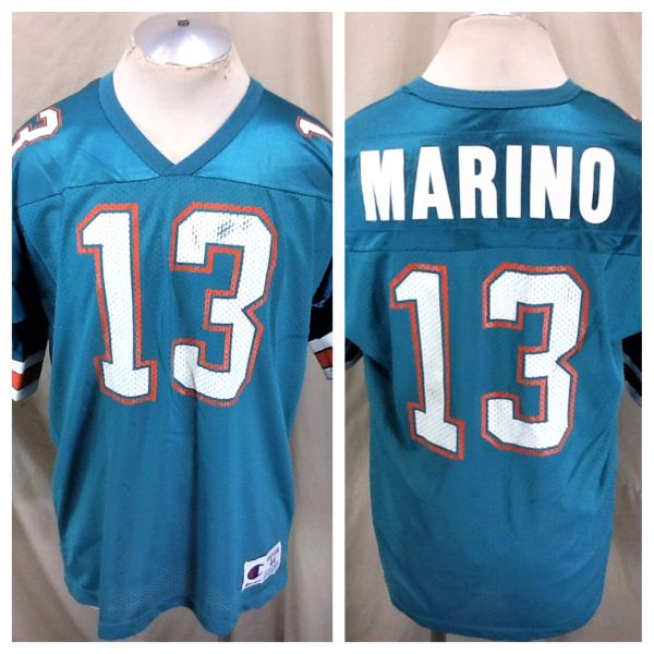 Vintage 90's Champion Miami Dolphins Dan Marino #13 (44/XL) Retro NFL Football Graphic Jersey
