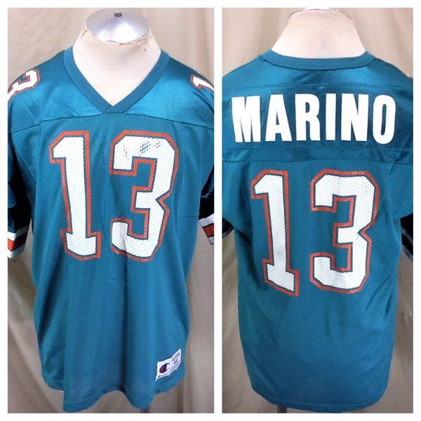 30136dff Vintage 90's Champion Dan Marino #13 (44/XL) Retro Miami Dolphins NFL  Football Jersey