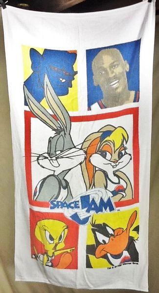 Vintage 1996 Space Jam Michael Jordan Retro Looney Tunes Graphic Beach Towel Wall Art