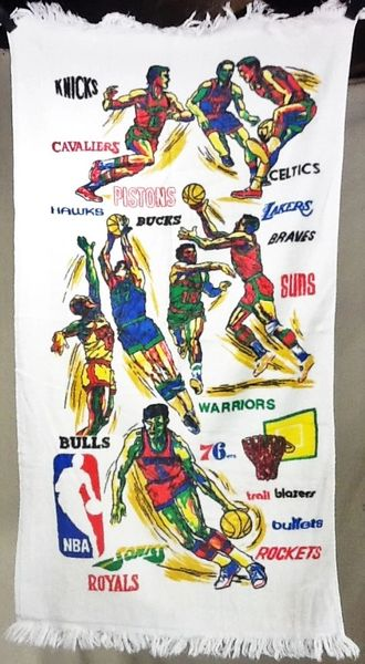 Vintage 80's NBA Teams List Classic Basketball Players Graphic Wall Art White Towel