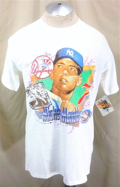 """New! Vintage 1991 New York Yankees Mickey Mantle #7 (Large) Retro MLB Topps """"40 Years of Baseball"""" Graphic Player T-Shirt"""