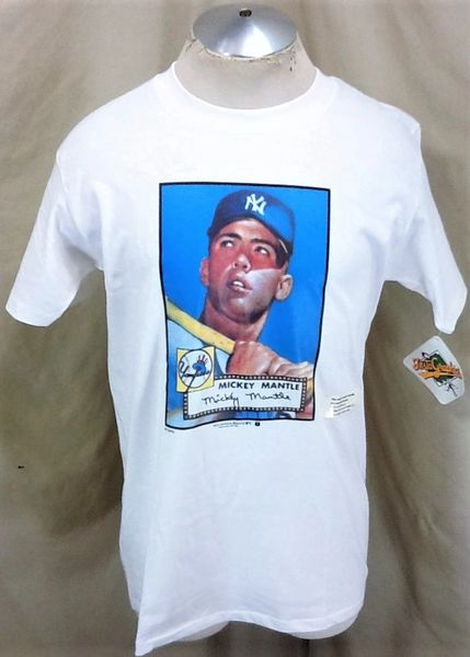 """New! Vintage 1989 New York Yankees Mickey Mantle #7 (Large) Retro Topps """"Autograph"""" MLB Baseball Graphic T-Shirt"""