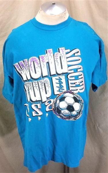 Vintage 1994 World Cup Team USA Soccer (XL) Retro Graphic Futbol T-Shirt Aqua