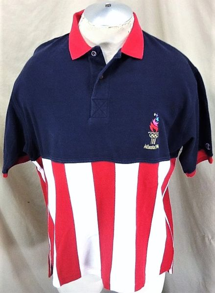 Vintage 1996 Champion Atlanta Olympic Games (Large) Retro Team USA Embordered Graphic Polo