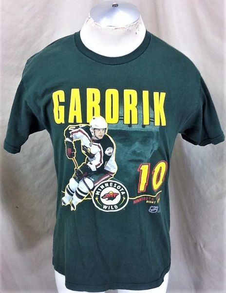 Vintage Minnesota Wild Marian Gaborik #10 (Med) Retro NHL Hockey Graphic T-Shirt