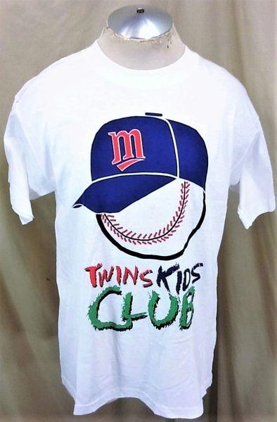 """Vintage 90's Minnesota Twins Baseball (Large) Retro MLB """"Kids Club"""" Graphic White T-Shirt"""