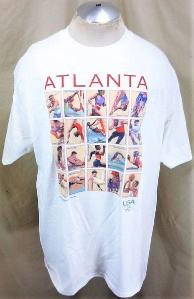 "Vintage 1996 Atlanta Summer Olympics (XL) Retro Team USA ""Event Listings"" Graphic T-Shirt"