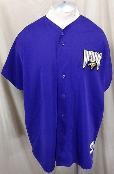 Vintage 90's Majestic Minnesota Vikings Football Club (2XL) Retro NFL Button Up Baseball Style Jersey