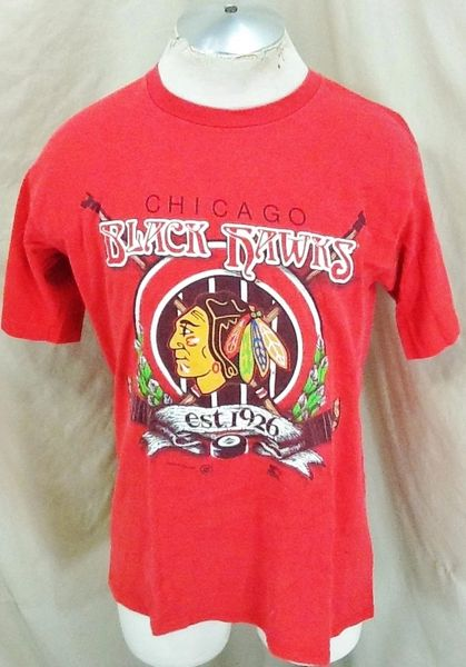 Vintage 1992 Starter Chicago Black Hawks (Med) Retro NHL Hockey Graphic Red T-Shirt