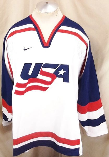 Nike 2002 Authentic Olympics Team USA (2XL) Retro Salt Lake City Knit Hockey Jersey White