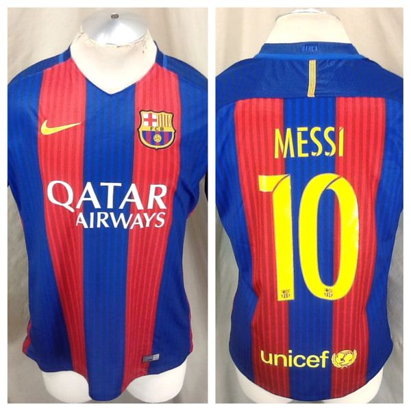 Authentic 2016 Nike Barcelona Lionel Messi #10 (Large) Retro Dri-Fit Soccer Jersey Red/Blue
