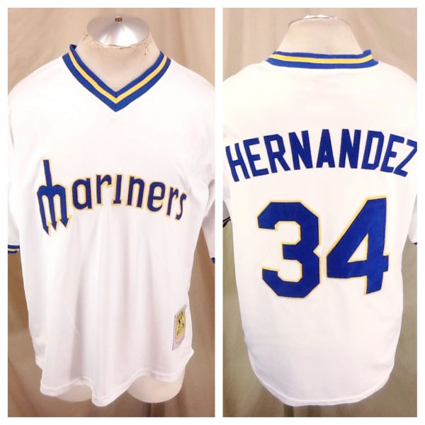 new styles cd800 11b0d Mitchell & Ness Seattle Mariners (48/XL) Felix Hernandez #34 MLB Baseball  Jersey