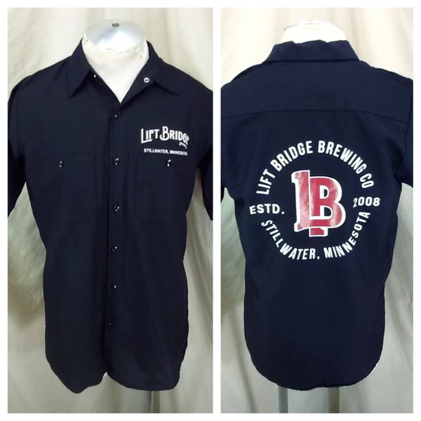Red Kap Lift Bridge Brewing Company (Small) Button Up Graphic Breweriana Shirt