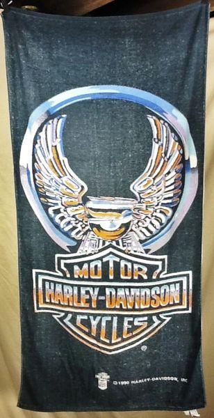 Vintage 1990 Harley Davidson Motorcycles Graphic Beach Towel Wall Art