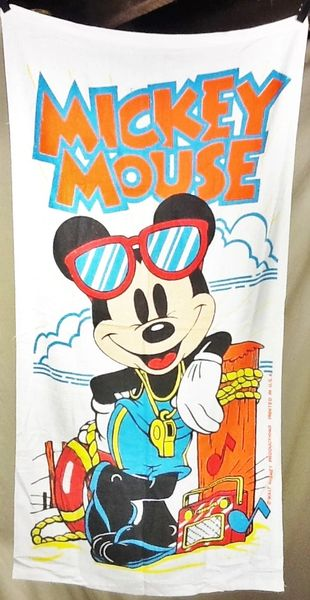 "Vintage 80's Walt Disney Mickey Mouse ""Life Guard"" Retro Graphic Beach Towel Wall Art"
