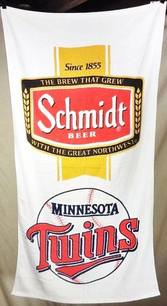 Vintage 1980's Minnesota Twins Baseball & Schmidt Beer Graphic Beach Towel Wall Art