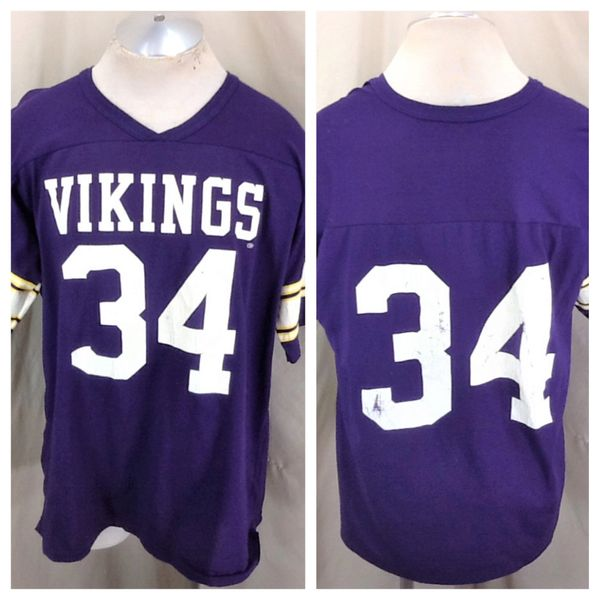 Vintage 80's Rawlings Minnesota Vikings #34 (XL) Retro NFL Football Graphic Purple Jersey