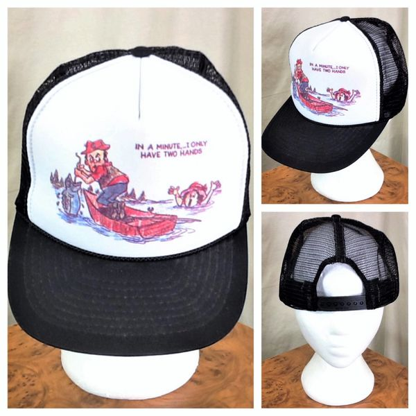 "Vintage 90's Nissin Fishing ""I Only Have Two Hands"" Funny Graphic Snap Back Trucker Hat"
