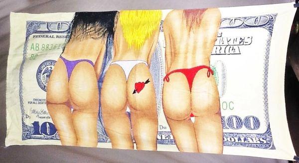 "Retro $100 ""Dollar Bill Backsides"" Spring Break Graphic Beach Towel Wall Art"