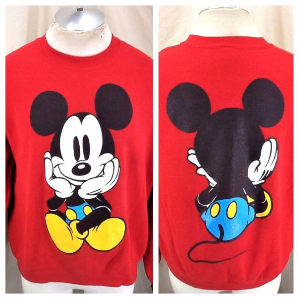 Vintage 90's Disney's Mickey Mouse (XL) Retro Graphic Iconic Cartoon Red Sweatshirt