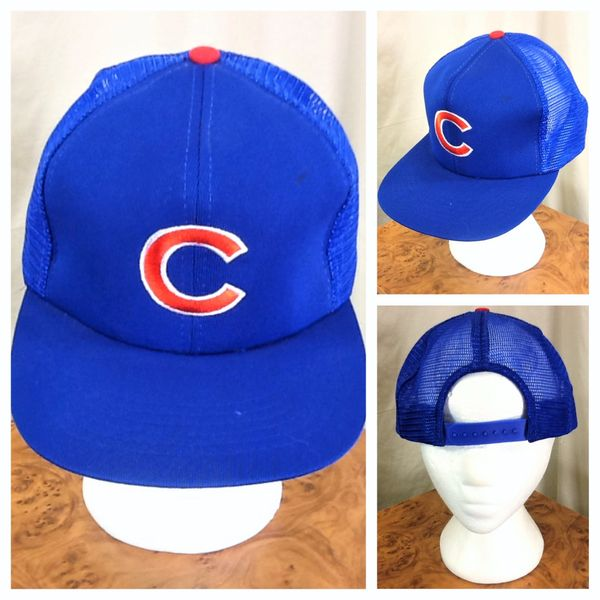 Vintage 90's Chicago Cubs Retro MLB Baseball Classic Blue Snap Back Trucker Hat