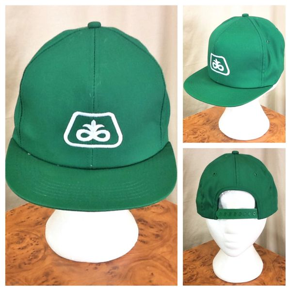 Vintage 1980's K-Products Pioneer Seed Company Retro Snap Back Green Farming Hat