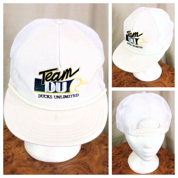 """Vintage 80's Outdoorsman Ducks Unlimited """"Team DU"""" Conservation Snap Back Trucker Hat"""