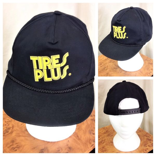 Vintage 90's Tires Plus & Auto Care Gear Heads Retro Graphic Snap Back Black Hat