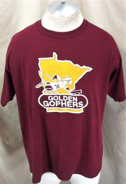 Vintage 1980's Minnesota Gophers Hockey (L/XL) Retro NCAA Graphic Goldy Gopher T-Shirt Maroon