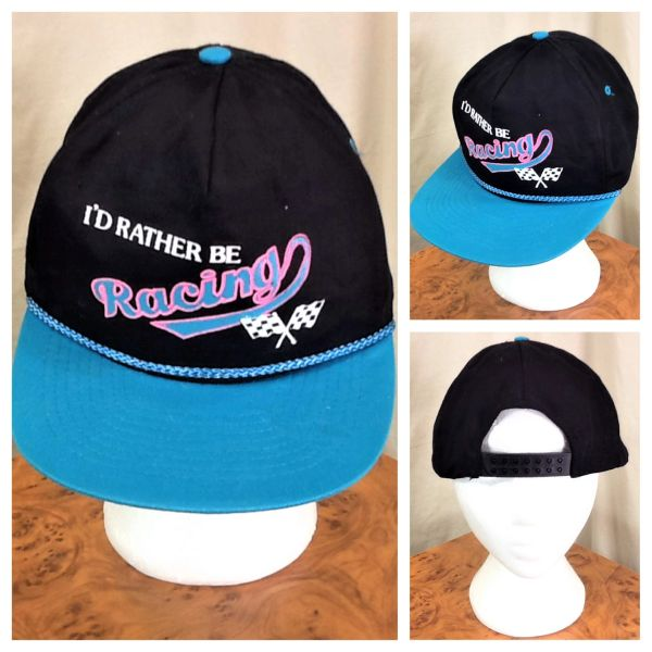 "Vintage 90's Gear Heads ""I'd Rather Be Racing"" Retro Graphic Snap Back Checkered Flag Hat"