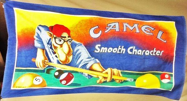 "Vintage Camel Cigarettes Joe Camel ""Smooth Character"" Graphic Beach Towel Wall Art"