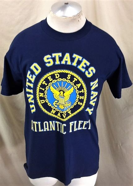 "Vintage 90's United States Navy ""Atlantic Fleet"" (Medium) Graphic Armed Forces T-Shirt"