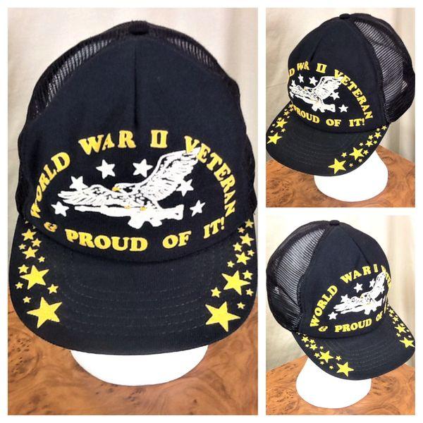 """Vintage 80's World War II Veteran """"Proud of It"""" Retro Armed Forces Snap Back Trucker Hat"""