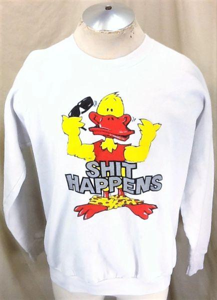 "Vintage 90's Graphic Duck ""Shit Happens"" (XL) Retro Graphic Crew Neck Sweatshirt"