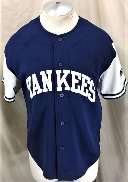 Vintage 90's Starter New York Yankees Baseball (Med) Retro MLB Button Up Knit Jersey Blue