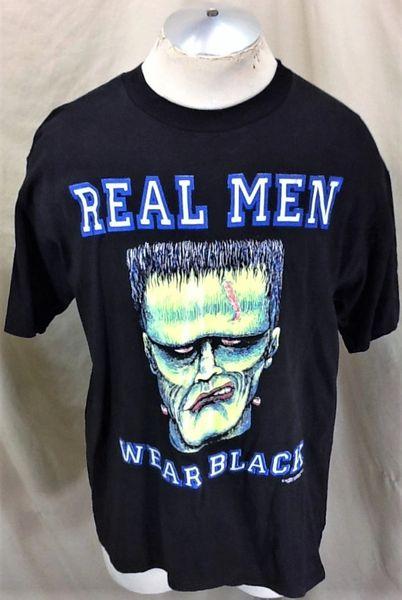 "Vintage 1992 Frankenstein ""Real Men Wear Black"" (Large) Graphic Halloween T-Shirt"