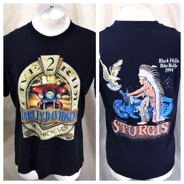 "Vintage 1992 Holoubek Harley Davidson (Large) ""Live 2 Ride Motorcycles"" Graphic T-Shirt"