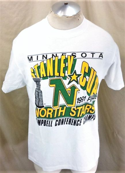 Vintage 1991 Minnesota North Stars (Large) Retro NHL Hockey Stanley Cup Graphic T-Shirt
