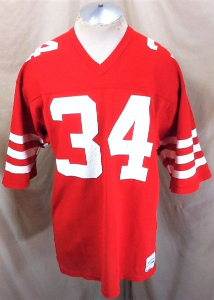 Vintage 1980's Sand Knit Wisconsin Badgers #34 (Large) Retro NCAA Graphic Football Jersey Red