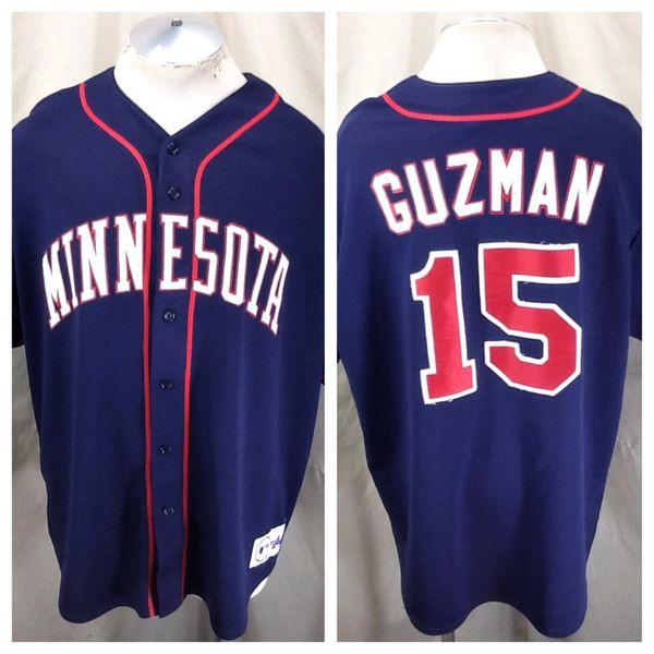 Vintage Majestic Minnesota Twins Christian Guzman #15 (2XL) Retro MLB Baseball Stitched Jersey
