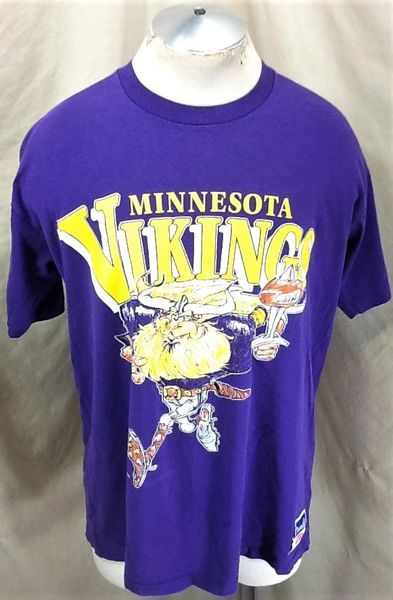 Vintage 90 S Nutmeg Minnesota Vikings Xl Ragnar Nfl Mascot Graphic T Shirt