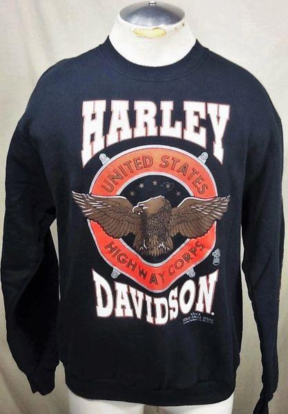 "Vintage 1991 Harley Davidson ""Gold Eagle Series #3 of 4"" (Large) Retro Graphic Crew Neck Sweatshirt"